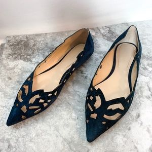 Zara Blue Suede Pointed Toe Flats